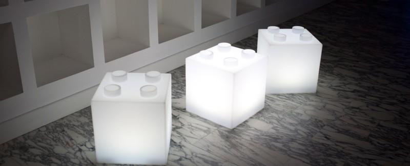 cube pouf lumineux lampe LED